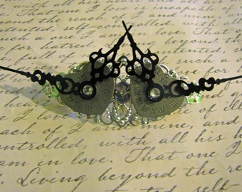 Black clock hands Silver plated Filigree French Barrette,Steampunk Barrette