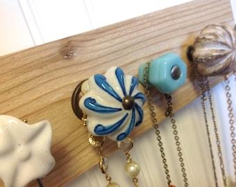 Wall Jewelry Organizer in Aqua and White
