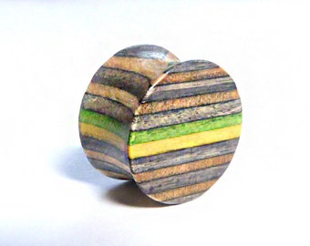 Pair of Recycled Skateboard Ear Plugs, Green & Yellow, Skateboard Jewellery, Handcrafted by British Artist Gomez, Official SESH Jewellery