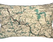 Algonquin Park Vintage Map Pillow - FREE SHIPPING