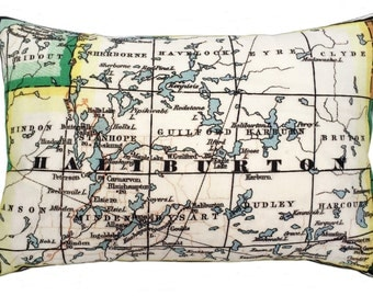 Haliburton Vintage Map Pillow - FREE SHIPPING
