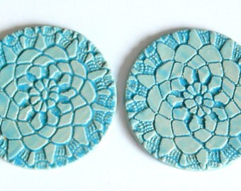 round ceramic coasters, blue glaze, hand made in Poland, tile coasters, set of two, 2pc, home decor, coasters with pattern, gift idea