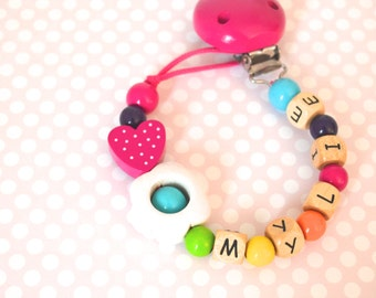 Baby pacifier clip, rainbow pacifier clip, pacifier holder, fuchsia pacifier clip, baby girl pacifier clip,  pacifier holder, soothie clip