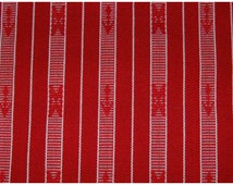 Red and white stripe fabric with tribal details, handwoven fabric, Filipino fabric, crafting fabric, craft supplies, sold per yard