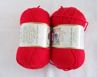 2 Balls red Bernat yarn - knitting supplies - acrylic yarn - Bernat satin yarn - knitting/crochet yarn - red satin yarn