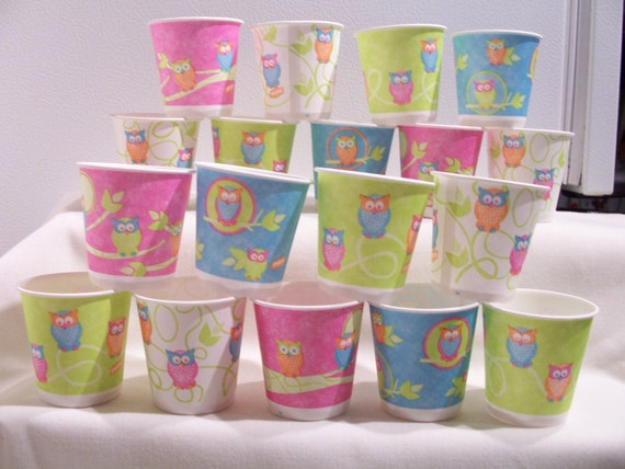 Mini Paper Candy Cup : Mini owl paper cups party favour candy