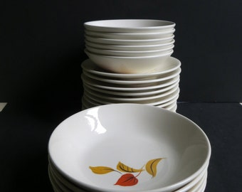 Mid Century Salem Mandarin Cereal Bowls Dessert Bowls Saucers Orange Brown Yellow Leaves
