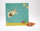 STICKY NOTEPAD: Scuba-Diving Cat, Jacques Chatsteau; Fun Gift, Stocking Stuffer