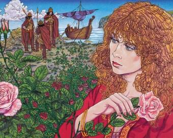 "Celtic Irish Fantasy Art Print Derdriu and the Sons of Uisliu. 8x11""."