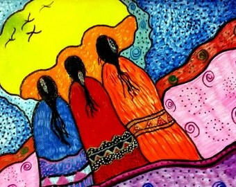 We Three, Native American Painting, Family, Spirit, Elders, Ancerstors, Canvas, Art, Oil, Canvas Board, Signed