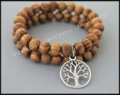 SET of 2 - TREE of Life / WOOD Stretch Bracelet - Wood Beads / Silver Tree of Life Symbol Peace Healing Luck Stretch Stacking Bracelet - 91