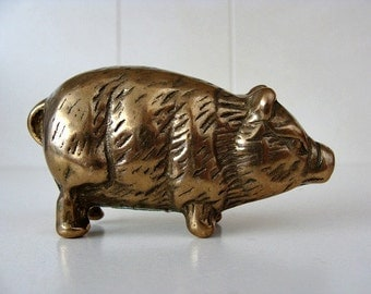 Brass Pig Brass Boar Or Wild Hog Figurine Small