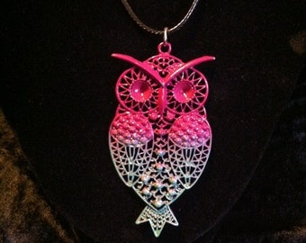 Metal Owl Necklace in Dark Purple and Pale Green on Black Cord