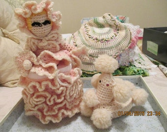 Vintage Hand crocheted Toilet Paper cover and Poodle soap cover