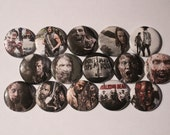 15 The Walking Dead Flatback or Pinback buttons 1 inch badge