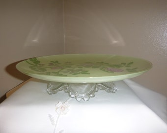 Green and Pink Flower Glass Cake Stand