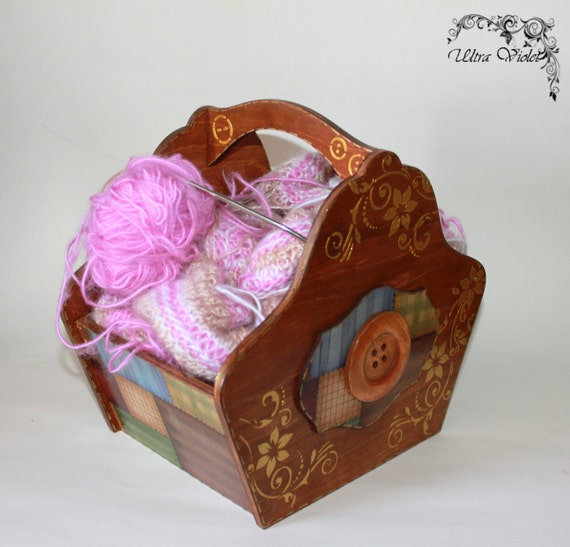 Knitting Needle Storage Box : Knitting basketknitting box needles by