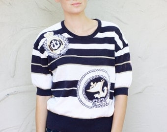 vintage embroidered nautical pinore shirt