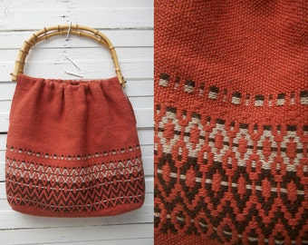 1980s Vintage Dark Dirty Orange Knit Boho Hippie Bag with Wood Handles / Women Accessories