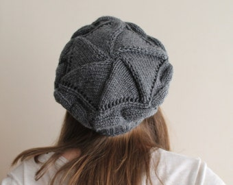 CHRISTMAS GIFT! Express Shipping. Cable hat. Gift for her. Smoke Gray cable hat, Circle hat, ready to shipping.