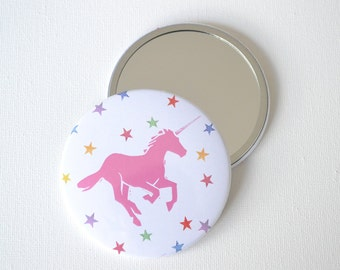 Unicorn 76mm Pocket Mirror. Stars and Unicorns mirror. A mirror perfect for pockets and handbags and Unicorn lovers