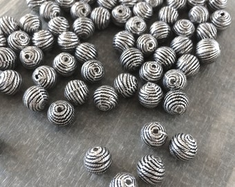 8mm Silver Rope Bead, Silver Spacer Beads, Silver Plastic Beads, 50 Pcs