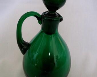 Forest Green Glass Cruet Oil Bottle with Glass Stopper