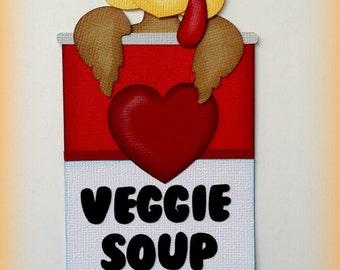 Elite4u Mindy Thanksgiving Turkey Soup Premade paper piecing for scrapbook page