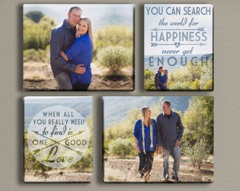 Engagement Photo Canvases with Typography Quote