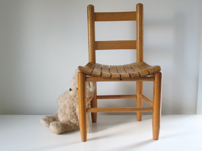 Vintage Children S Wooden Slat Chair Oak Child Toddler