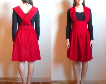 Vintage Red Corduroy Dress // Dirndl // Paisley // Size 2-4