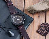 Horween Chromexcel Ox Blood Burgundy Leather Watch Strap 18mm, 20mm, 22mm (Free Shipping)