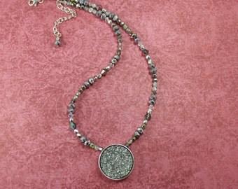 Silver Drusy Quartz (imit.) Necklace