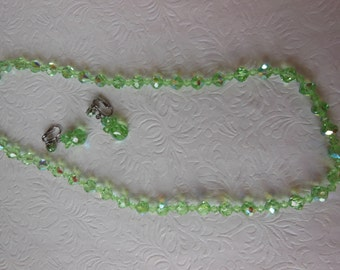 Vintage Aurora Borealis Light Green Crystal Necklace and Earring Set