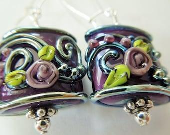 Dark Purple Pillow Lampwork Glass Earrings  Artisan Bead Earrings All sterling silver
