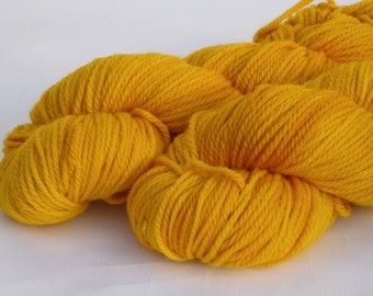 Aran yarn - Hand dyed Superwash Merino- gleaming gold