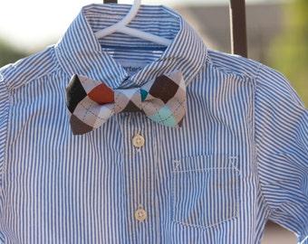 Argyle Bow Tie--Newborn-Toddler-Kids-Youth/Clip On Bow Tie