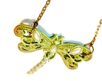 Dragonfly Necklace  Pearl and Rhinestone Handmade Gift