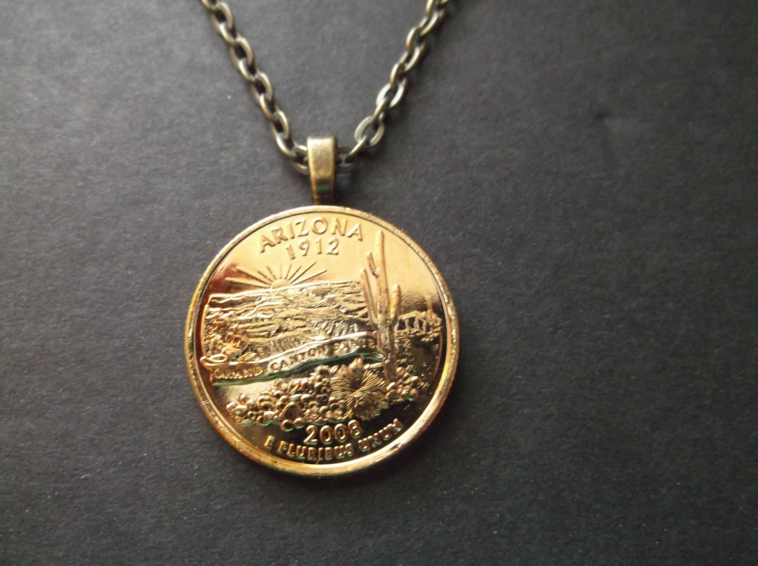 Arizona United States Gold Colored Quarter Coin Necklace