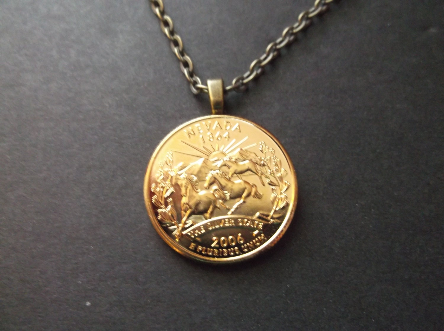 Nevada United States Gold Colored Quarter Coin Necklace United