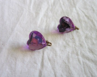 Vintage Fun Purple Heart Earrings