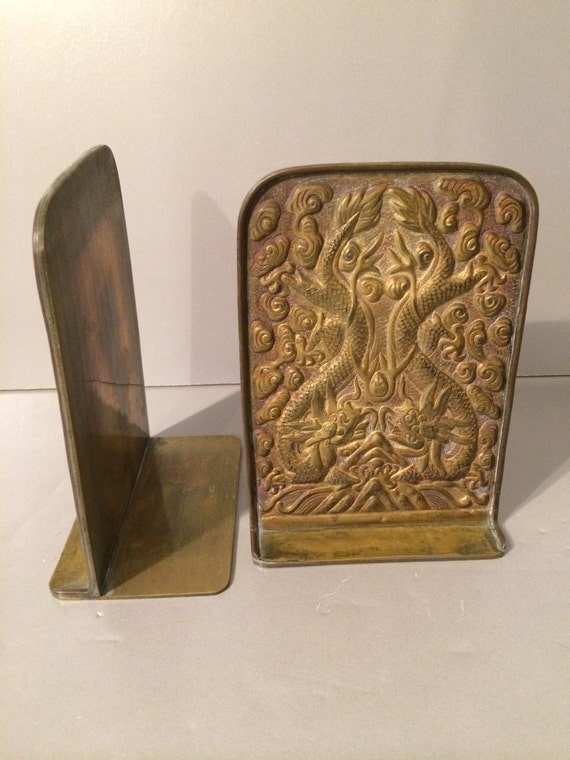 Chinese dragon bookends brass vintage by vintageloveantiques - Antique brass bookends ...