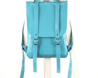 Turquoise leather backpack rucksack handmade/ To order / Turquoise leather Backpack / Leather Backpack / Leather rucksack / Christmas Gift