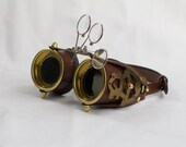 Steampunk Goggles - Made from hand stitched leather, solid brass hardware, and recycled clock parts.