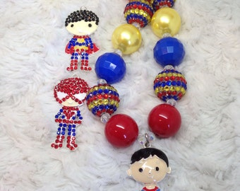 Superman Chunky Necklace: red, yellow, royal blue
