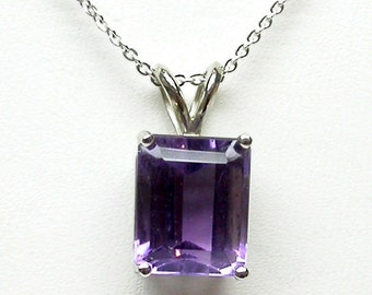 Genuine 10mm by 8mm  3.35 carat Amethyst Sterling Silver Pendant with Sterling Silver 16 or 18 in Chain