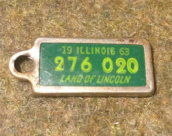 1963 Illinois - DAV License Plate Key Chain Fob - Tag for Key Ring - Disabled American Veterans