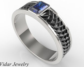 Radiant Blue Sapphire Ring For A Men,Unique Two Tone Gold Wedding Ring,Unique Wedding Band For Mens,Blue Sapphire Ring For Mens,Mens Ring