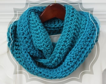 Crochet Infinity Scarf, Teal, Aqua, Circle Scarf, Loop Scarf, Crochet, Women's, Color Choice