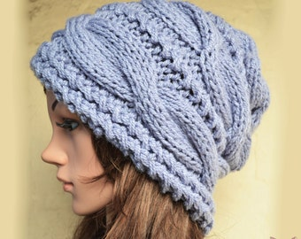 Slouchy cable style beanie hat - BLUEBERRY - womens chunky - accessories - baggy slouch - Medium thickness and extra warm